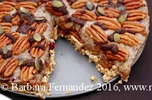 Picture of chia caramel pecan pie for raw food popup at Novi Cambridge